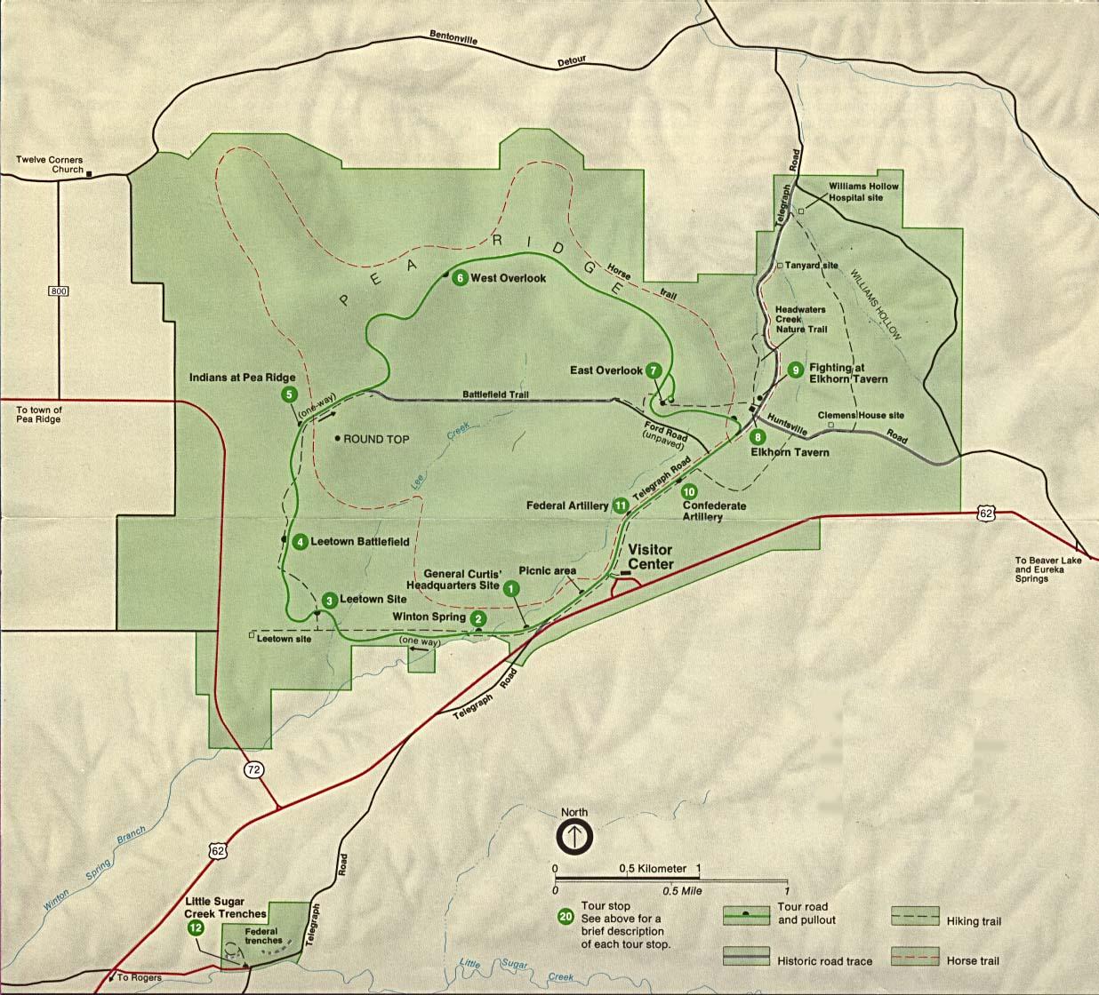 Mapa del Parque Militar Nacional de Pea Ridge, Arkansas, Estados Unidos