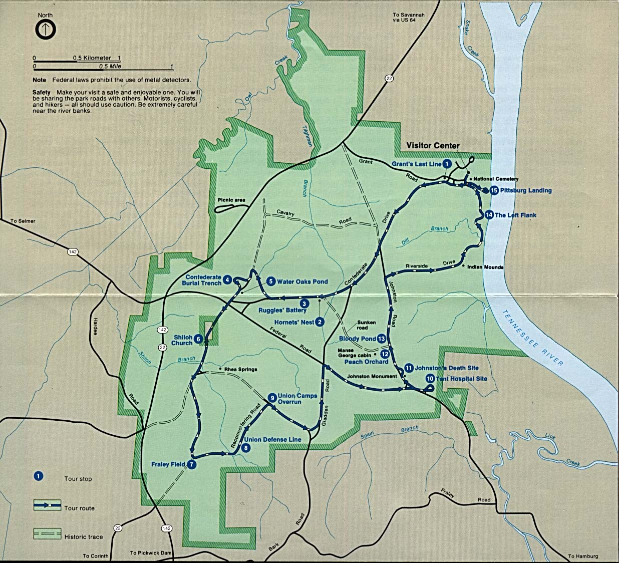 Shiloh National Military Park Map, Tennessee, United States
