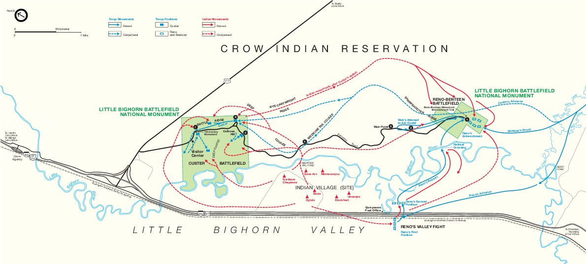 Park Map of Little Bighorn Battlefield National Monument, Montana, United States