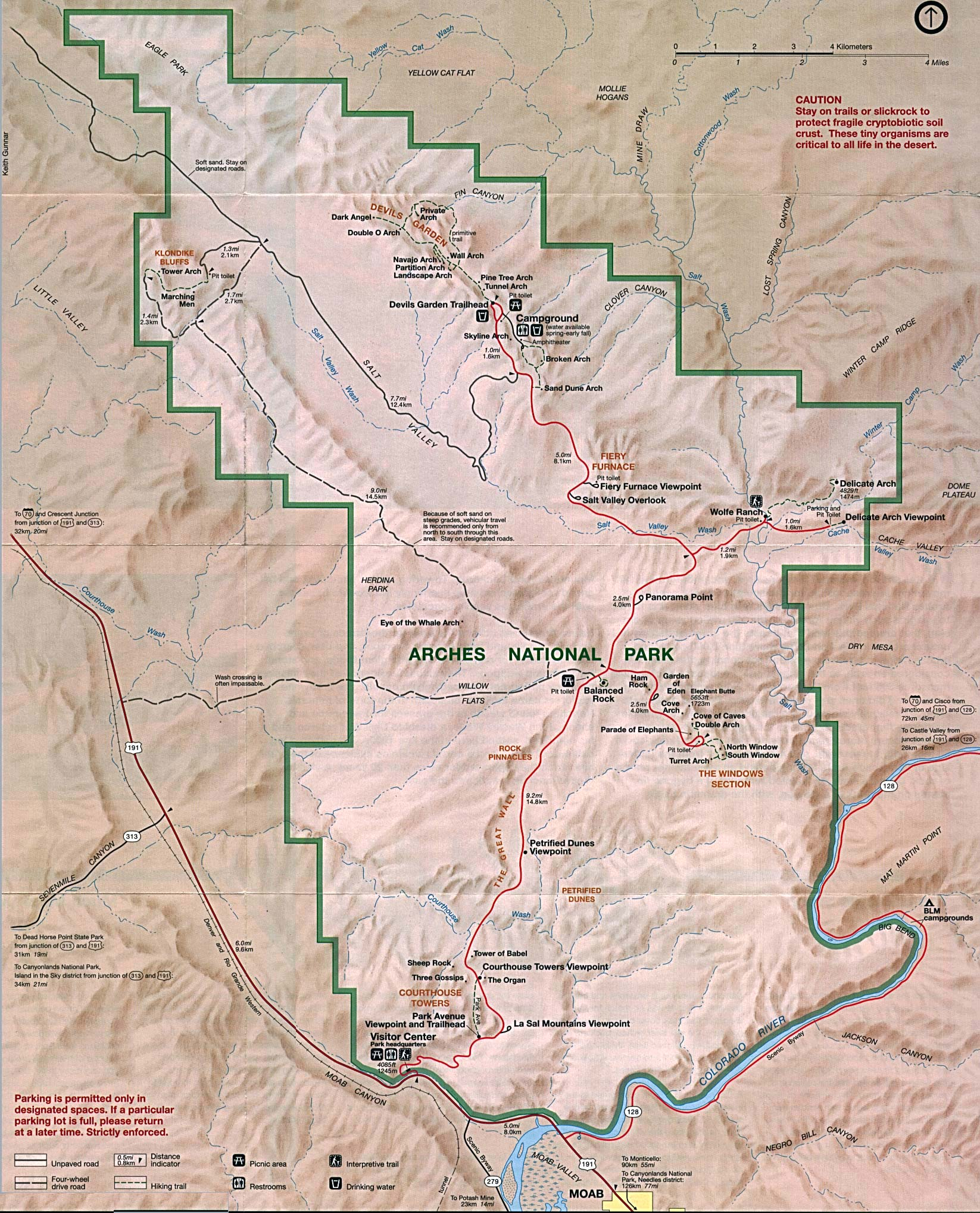 Arches National Park Map, Utah, United States