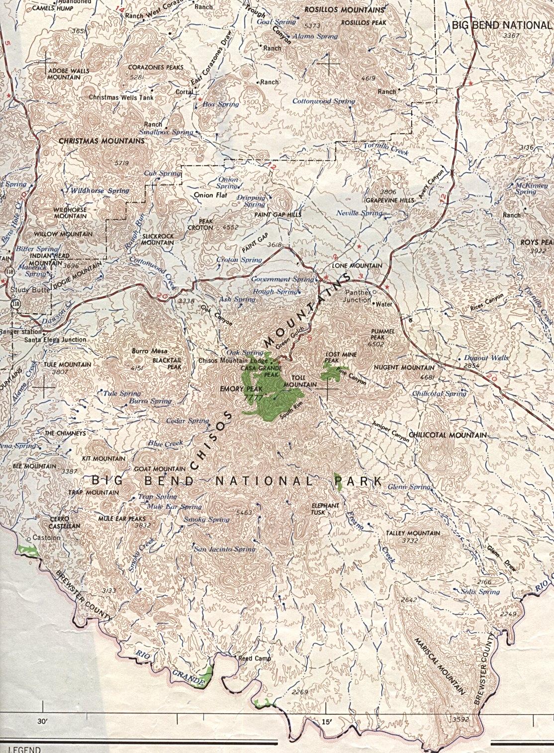 Mapa del Parque Nacional Big Bend, Texas, Estados Unidos 1959