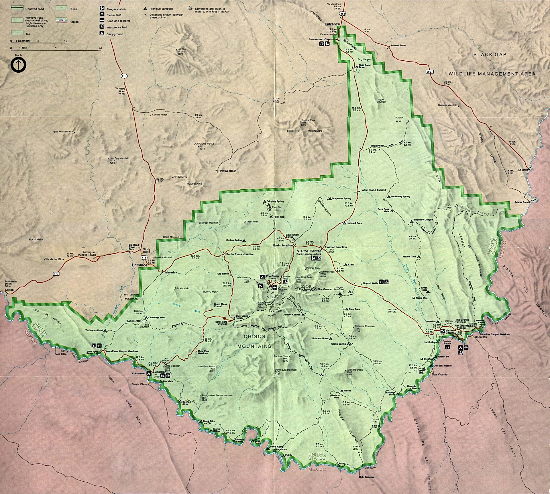 Mapa del Parque Nacional Big Bend, Texas, Estados Unidos
