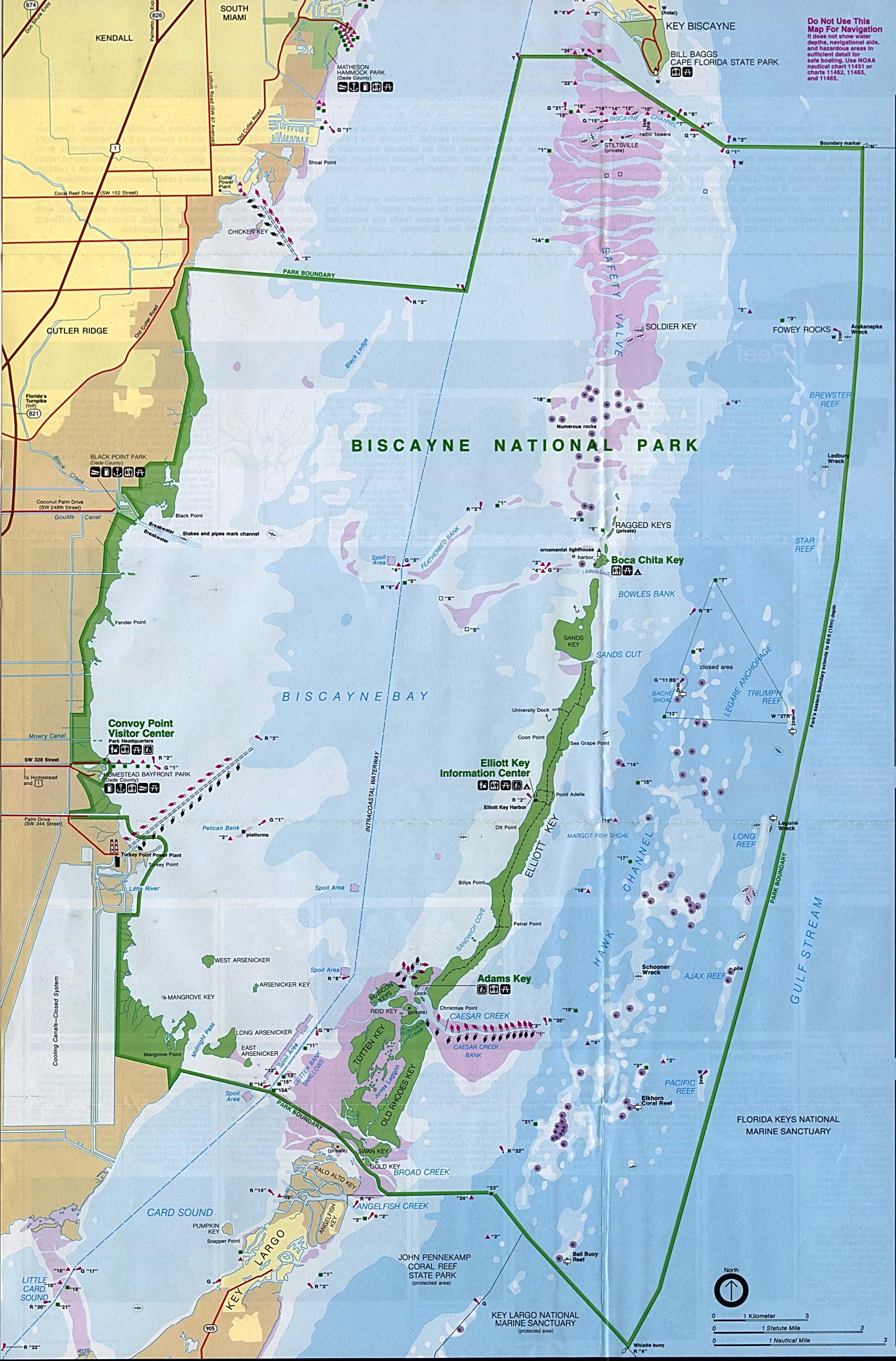 Mapa del Parque Nacional Biscayne, Florida, Estados Unidos