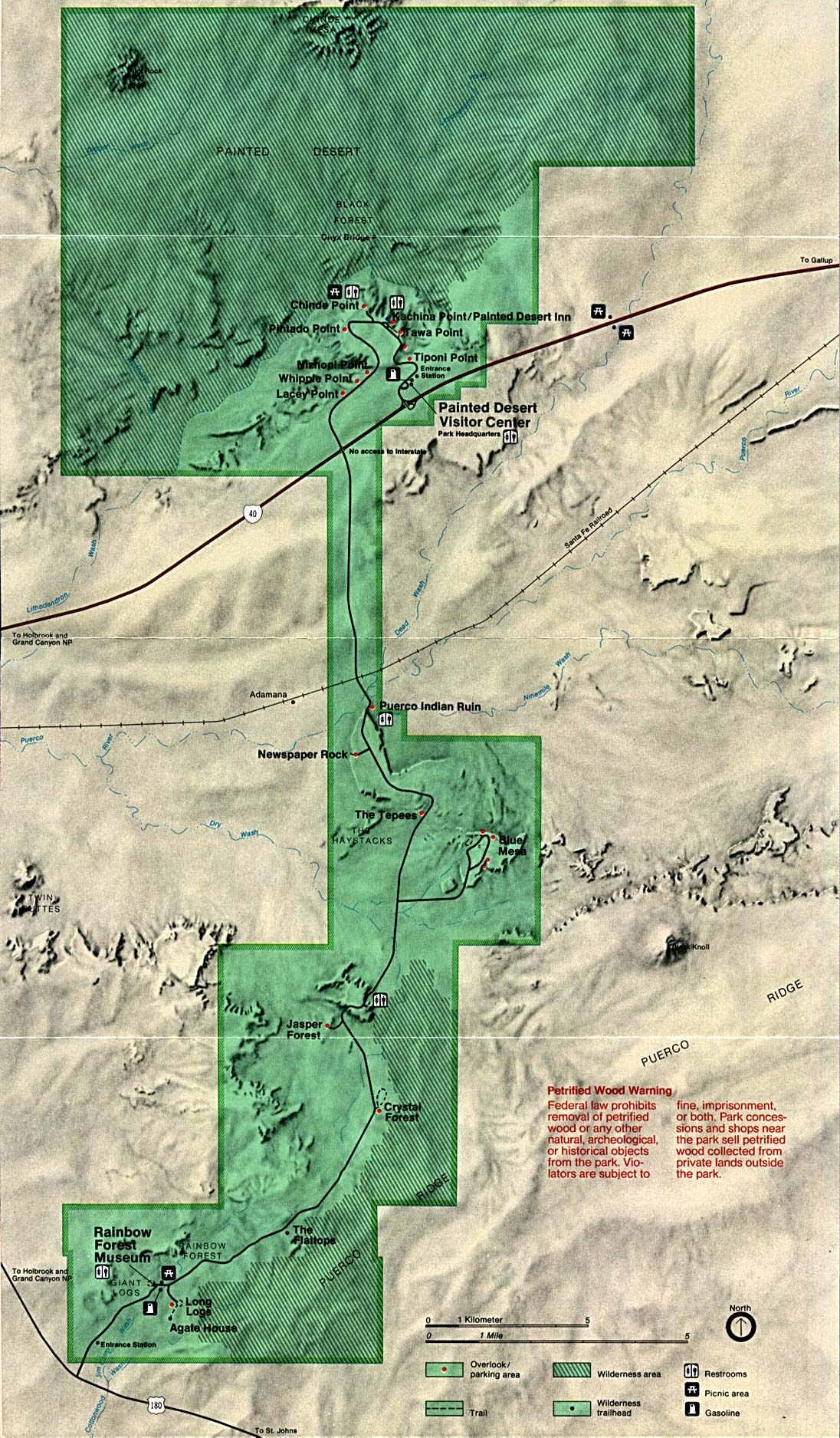 Petrified Forest National Park Map, Arizona, United States