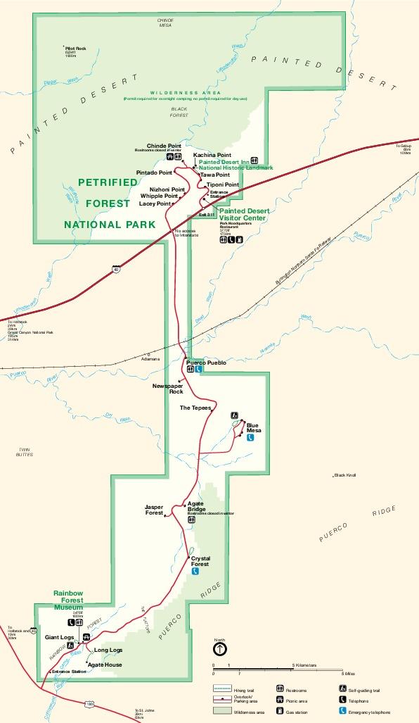 Mapa del Parque Nacional Bosque Petrificado, Arizona, Estados Unidos