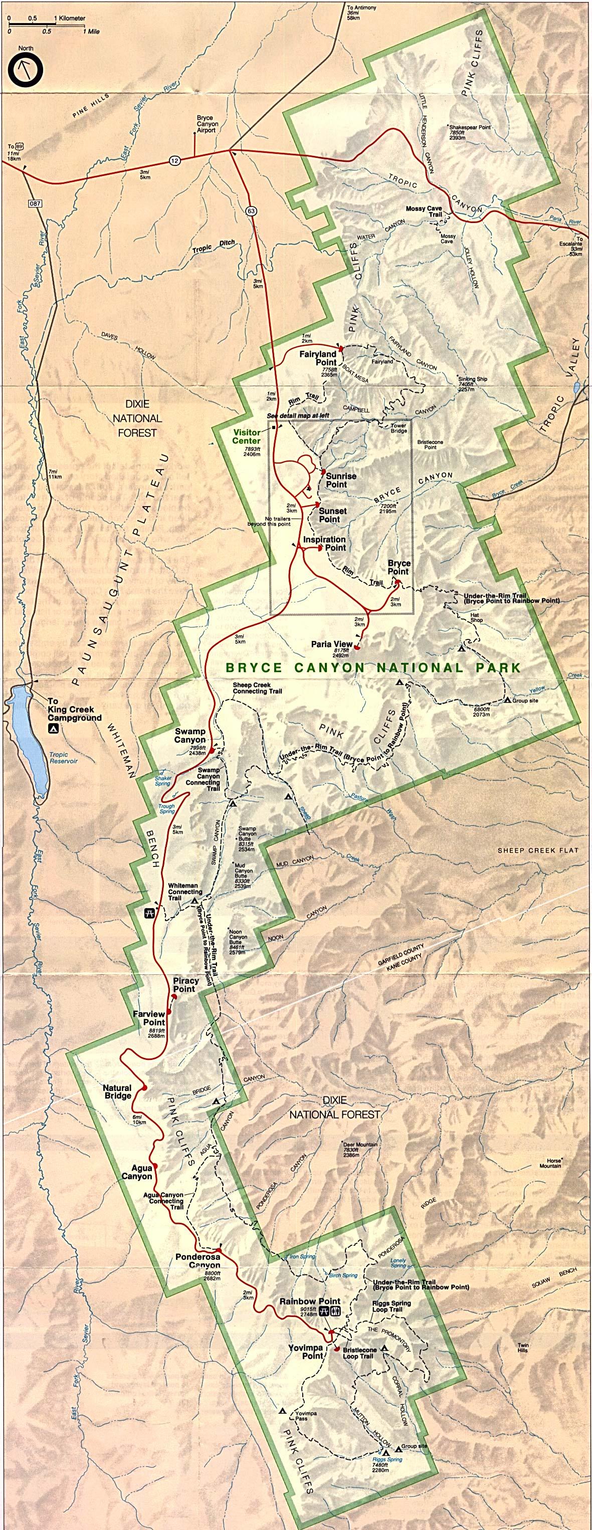 Bryce Canyon National Park Map, Utah, United States