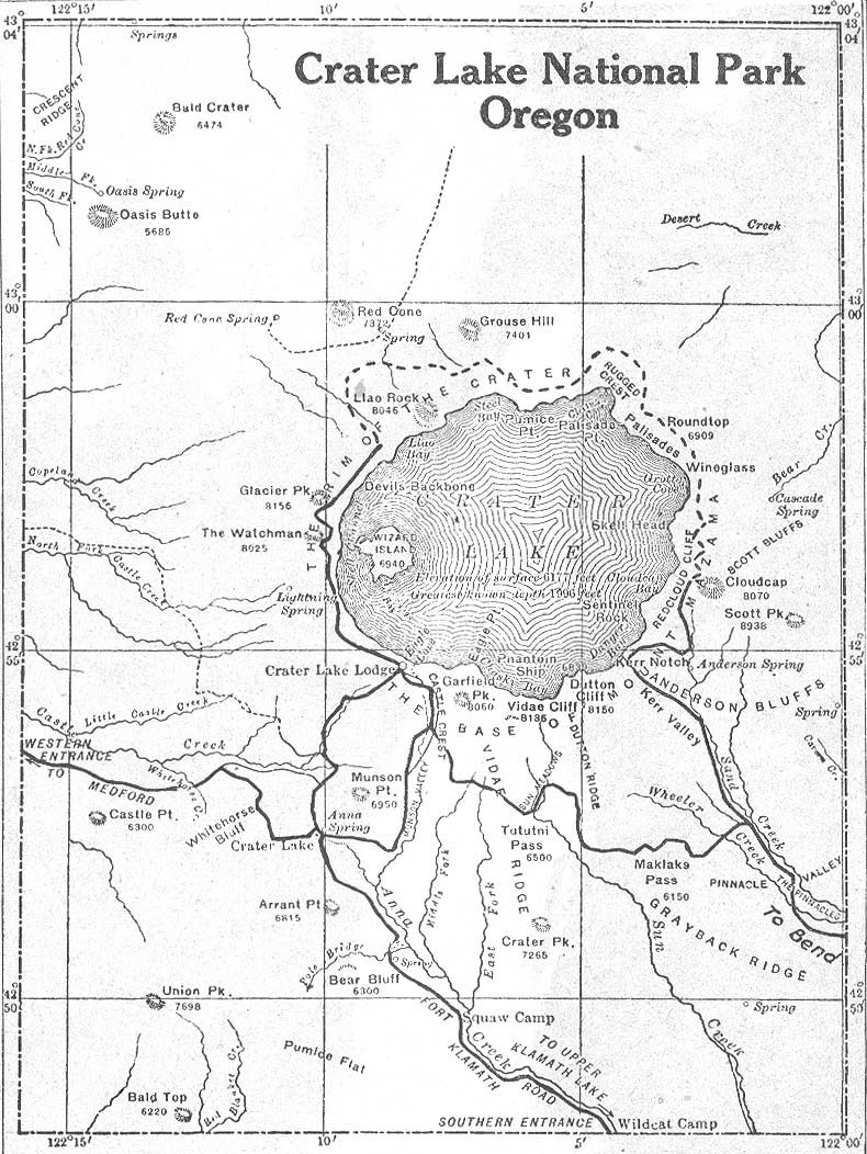 Crater Lake National Park Map, Oregon, United States 1917