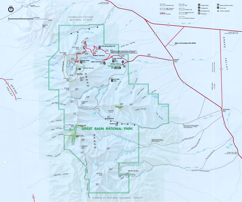 Mapa del Parque Nacional Great Basin, Nevada, Estados Unidos