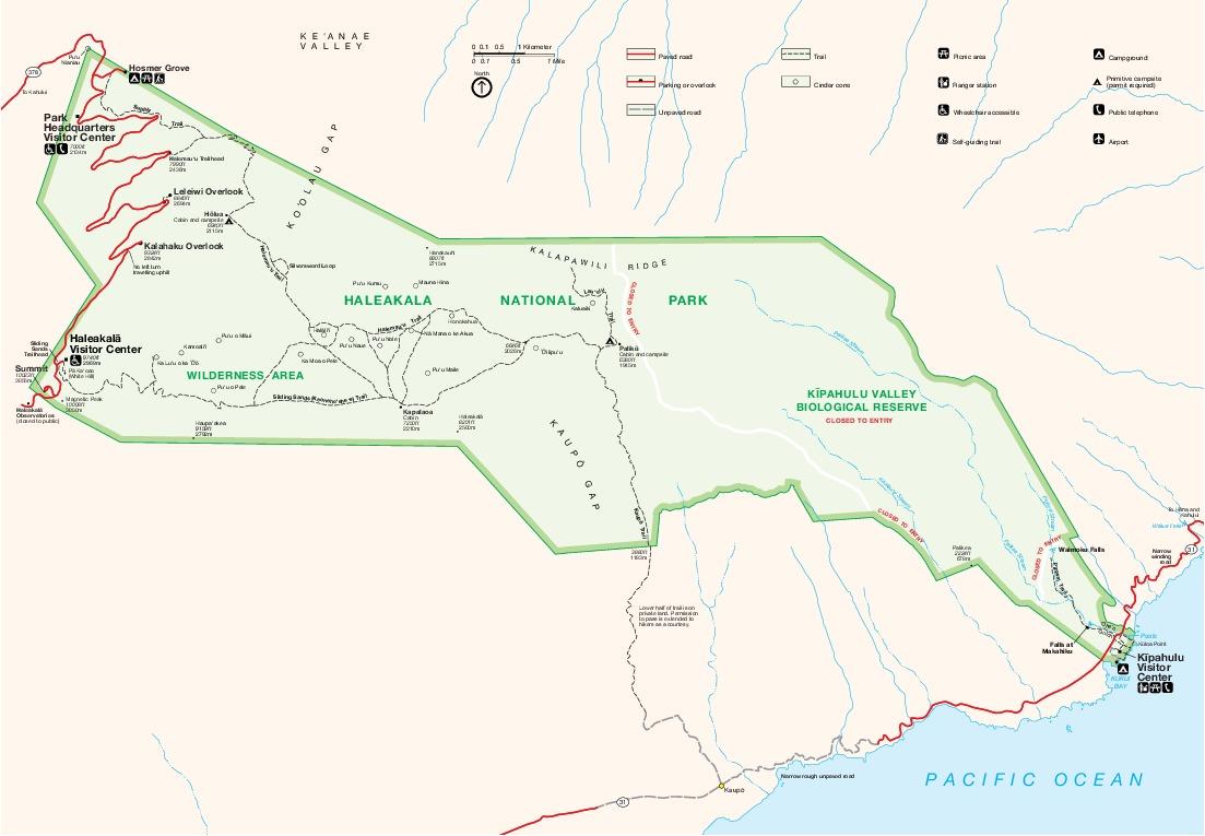 Mapa del Parque Nacional Haleakala, Hawái, Estados Unidos