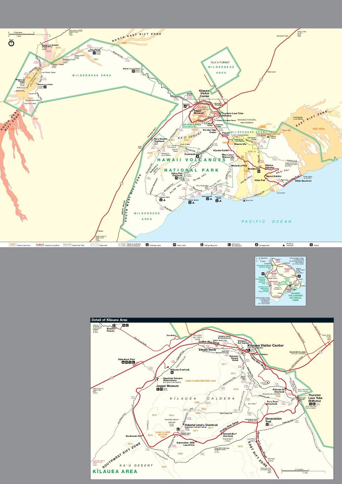 Hawaii Volcanoes National Park Map, Hawaii, United States
