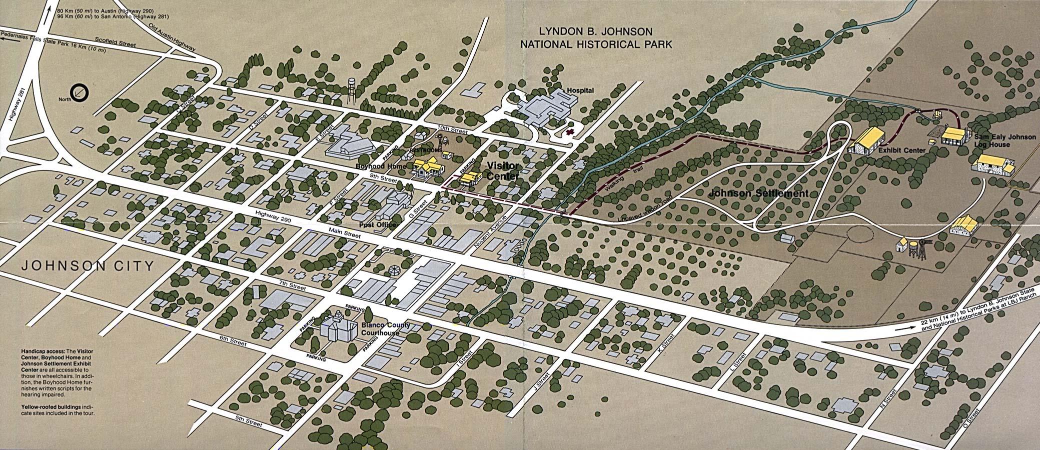 Mapa del Parque Nacional Histórico Lyndon B. Johnson, Johnson City, Estados Unidos