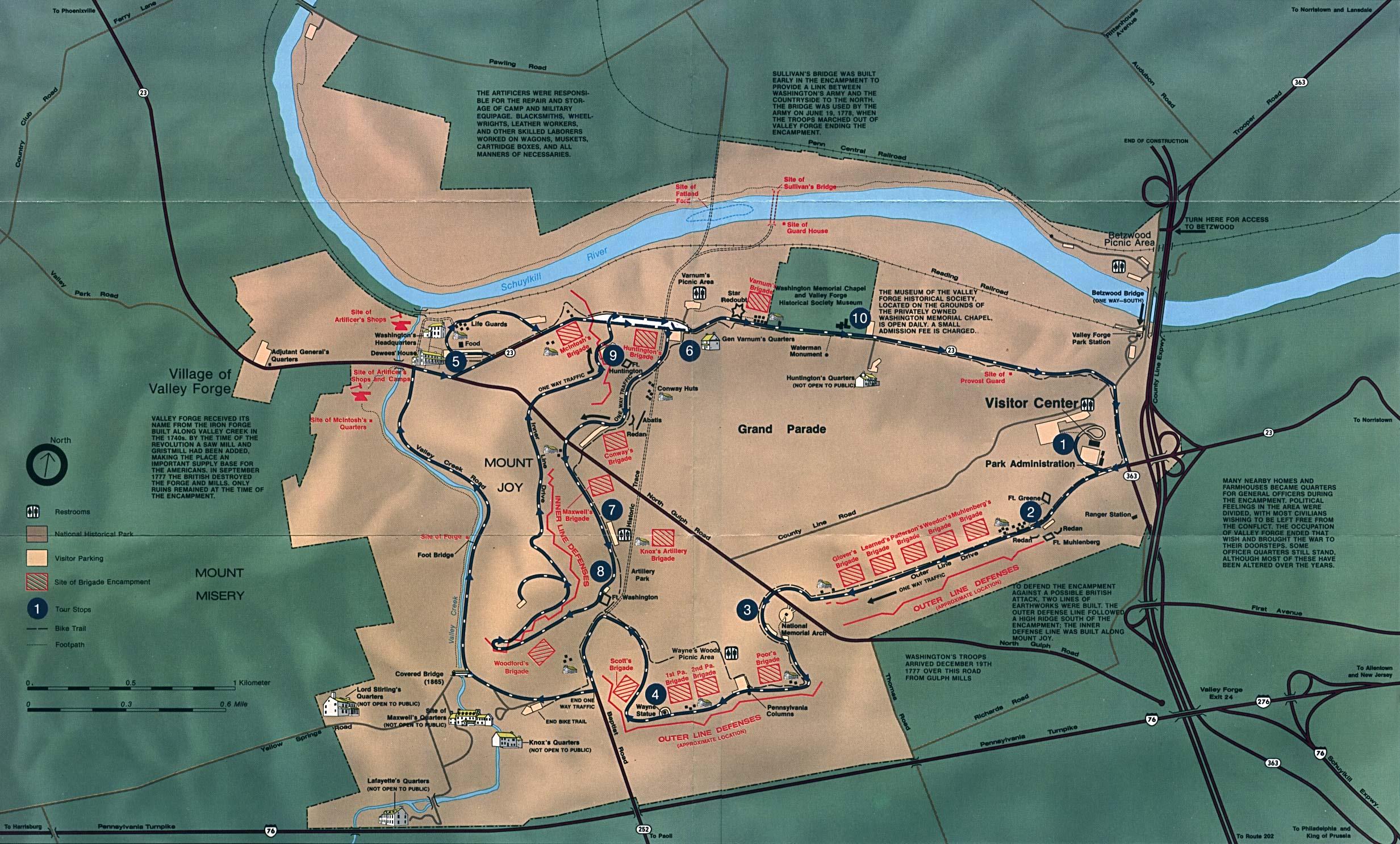 Mapa del Parque Nacional Histórico Valle Forge, Pensilvania, Estados Unidos