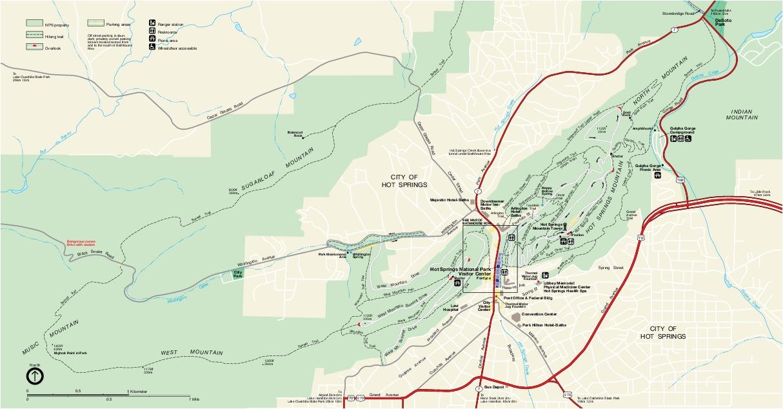 Hot Springs National Park Map, Arkansas, United States
