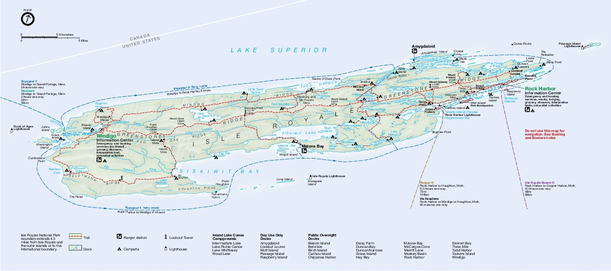 Isle Royale National Park Map, Michigan, United States