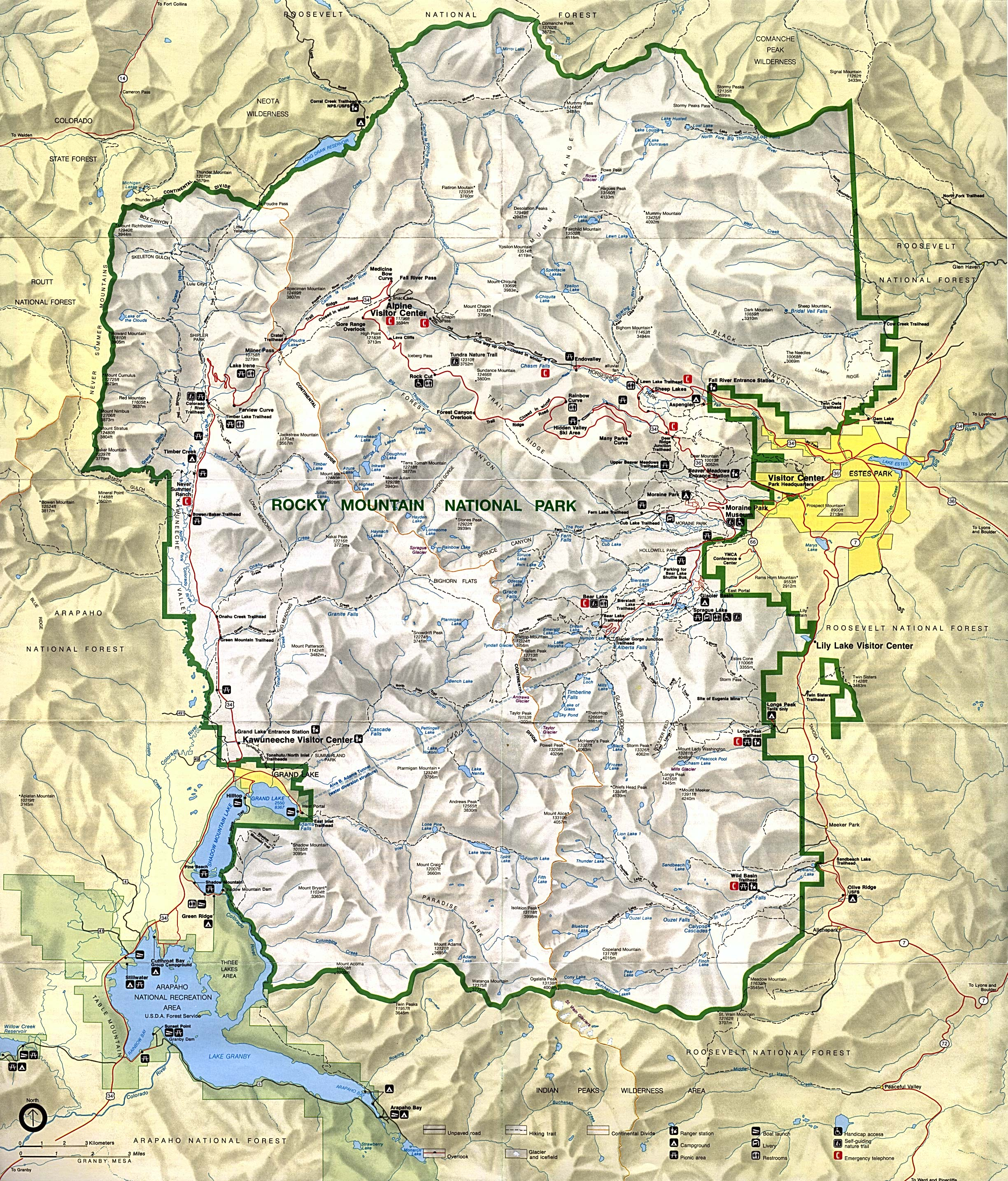 Maps of Rocky Mountain National Park Map, Colorado, United States ...