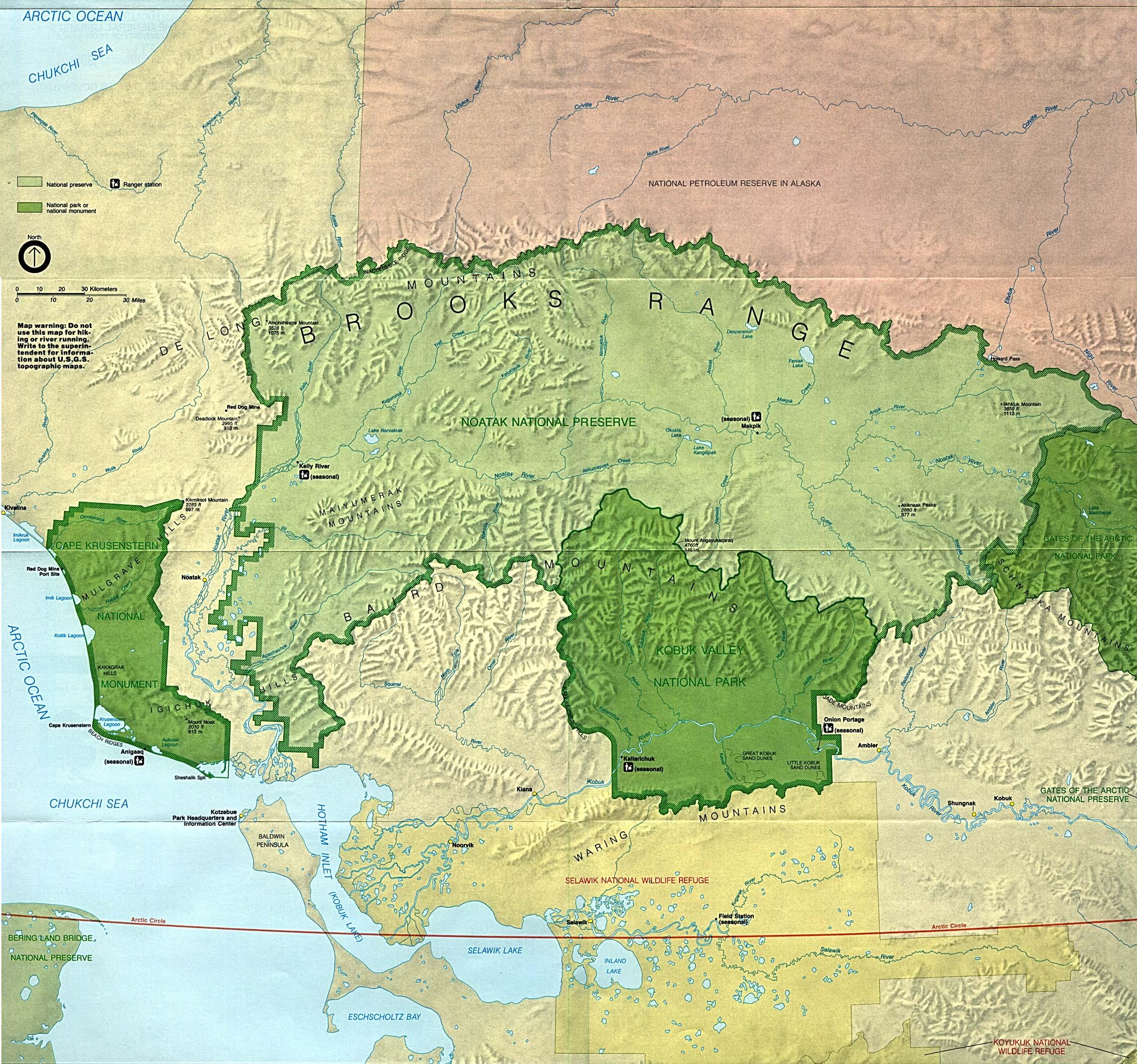 Mapa del Parque Nacional Valle Kobuk, Alaska, Estados Unidos