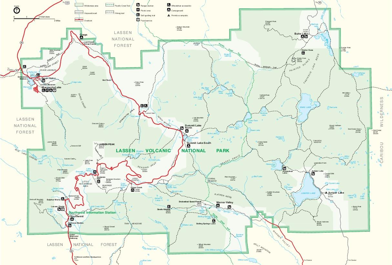 Mapa del Parque Nacional Volcánico de Lassen, California, Estados Unidos