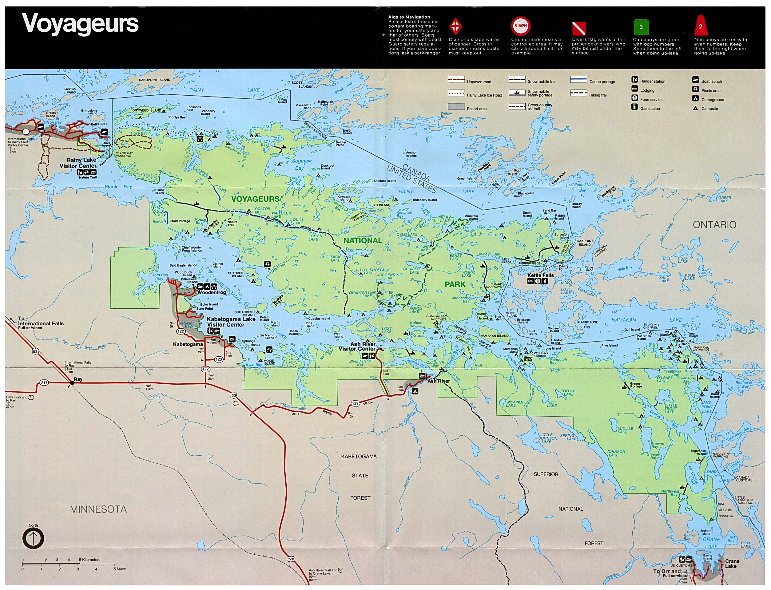 Voyageurs National Park Map, Minnesota, United States