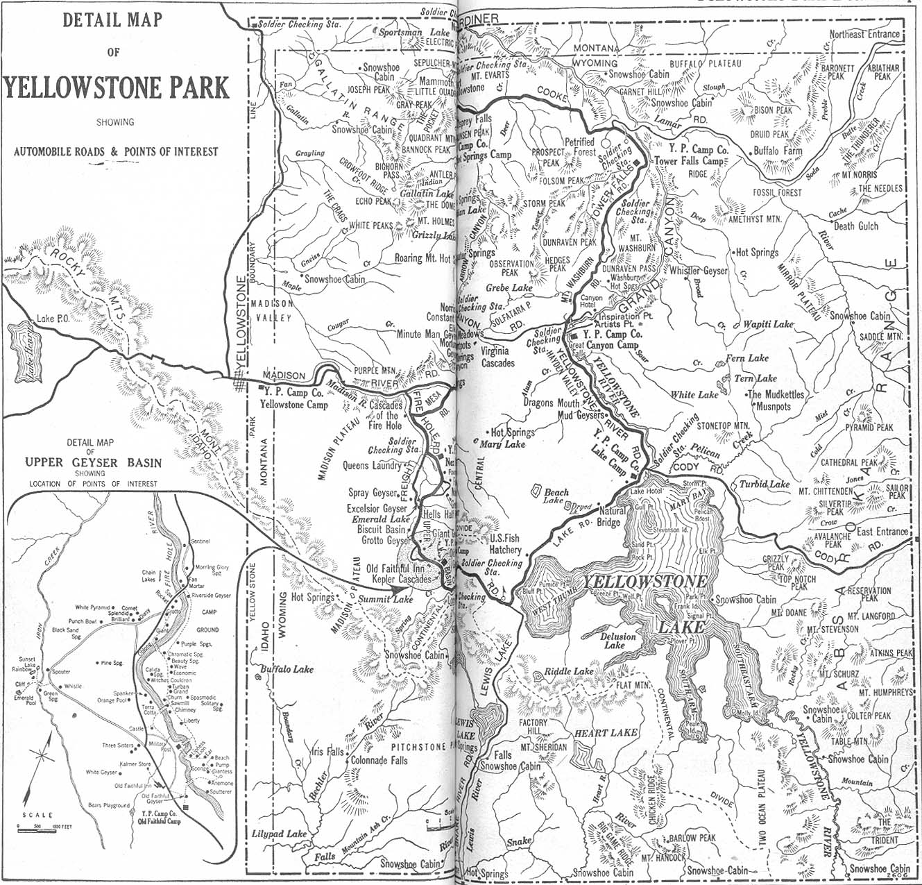 Yellowstone National Park Map, Wyoming, United States 1917