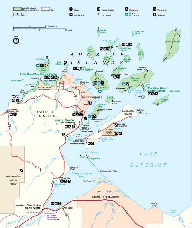 Park Map of Apostle Islands National Lakeshore, Wisconsin, United States