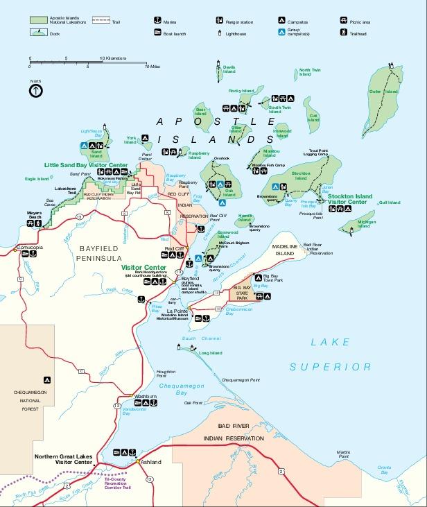 Mapa del Parque Nacional las Islas Apóstol, Wisconsin, Estados Unidos