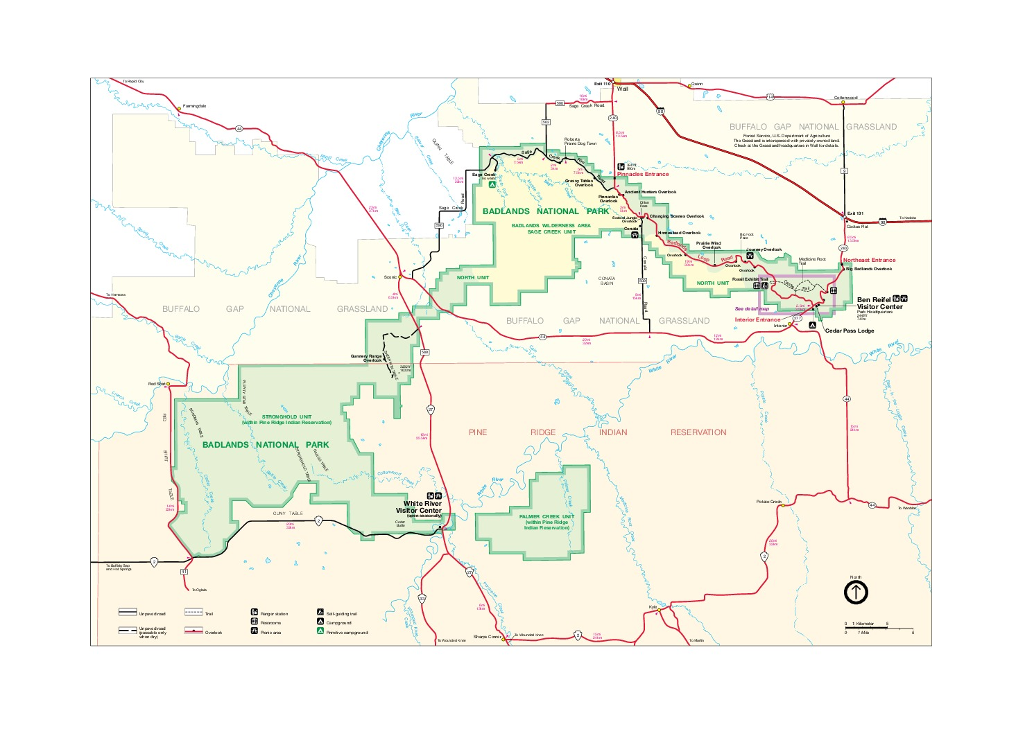 Mapa del Parque Nacional los Badlands, Dakota del Sur, Estados Unidos