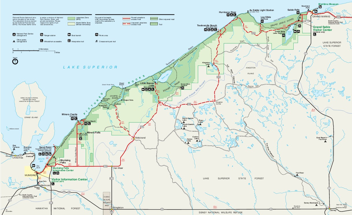 Mapa del Parque Ribera de lago Nacional Pictured Rocks, Michigan, Estados Unidos