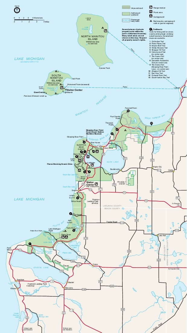 Mapa del Parque Ribera de lago Nacional Sleeping Bear Dunes, Michigan, Estados Unidos