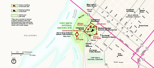 Mapa del Parque Sitio Histórico Nacional Fort Smith, Arkansas, Estados Unidos