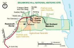 Mapa del Parque Sitio Histórico Nacional Sagamore Hill, Nueva York, Estados Unidos