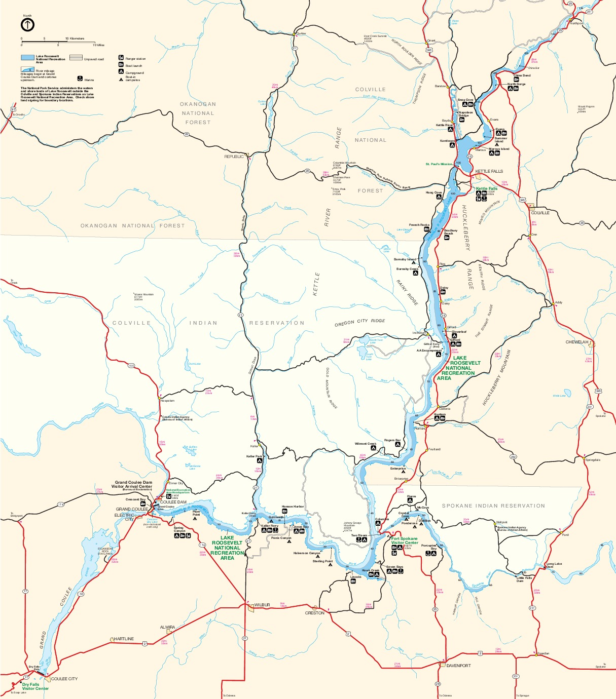 Park Map of Lake Roosevelt National Recreation Area, Washington, United States