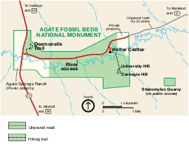 Park Map of Agate Fossil Beds National Monument, United States
