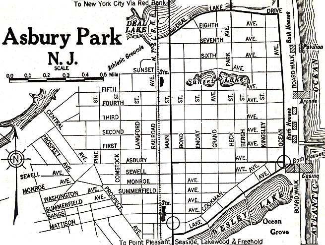 Asbury Park City Map, New Jersey, United States 1920