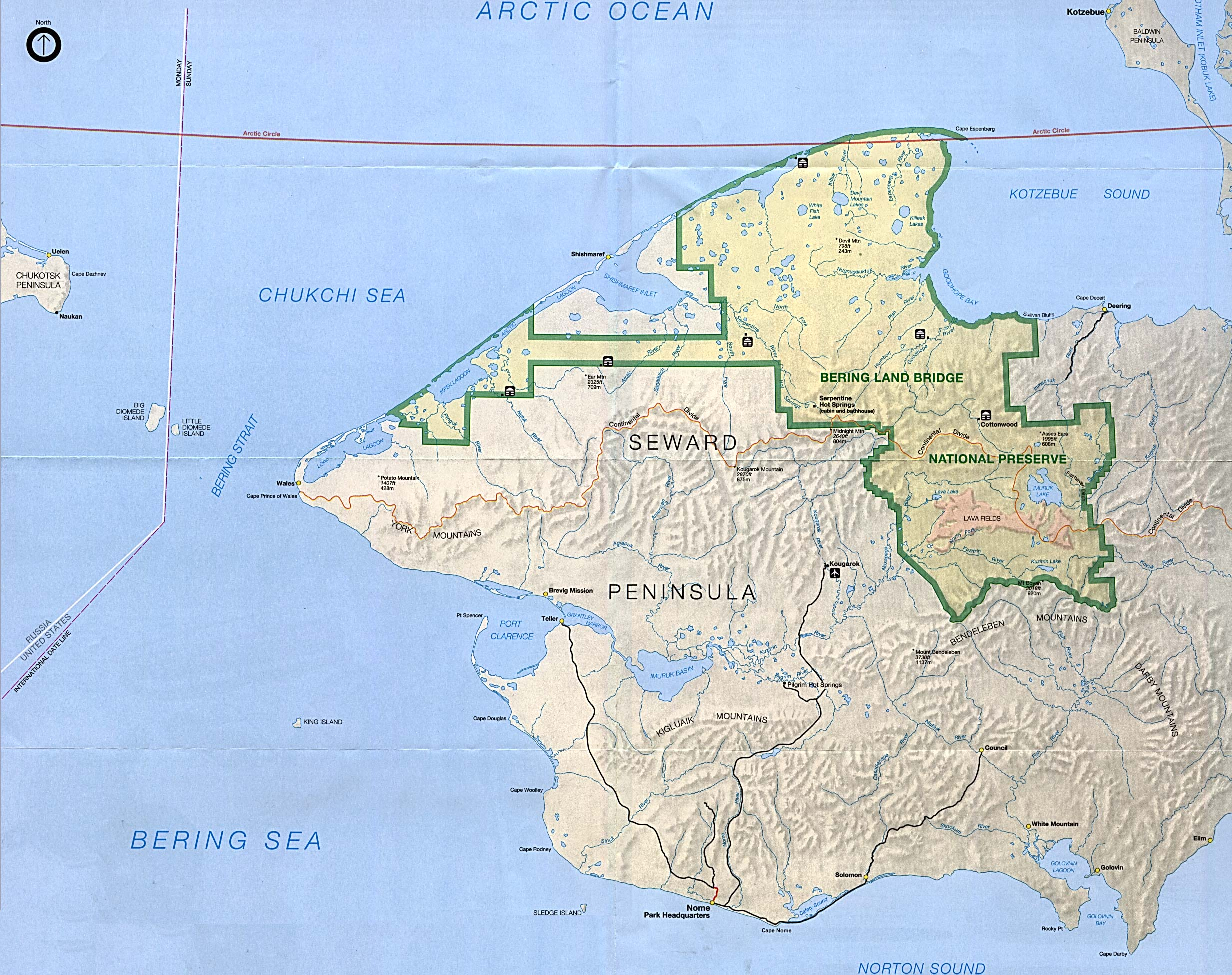Park Map of Bering Land Bridge National Preserve, Alaska, United States