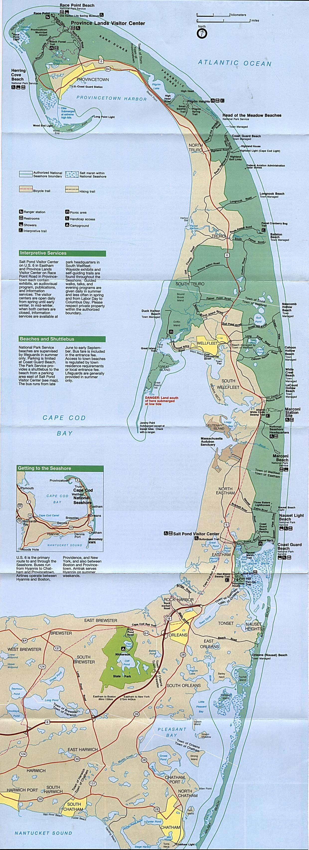 Cape Cod National Seashore Park Map Massachusetts United States