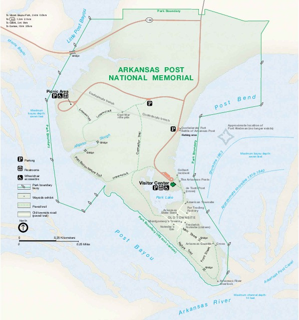 Park Map of Arkansas Post National Memorial, Arkansas, United States