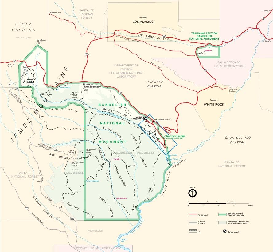 Mapa del Parque del Monumento Nacional Bandelier, Nuevo México, Estados Unidos
