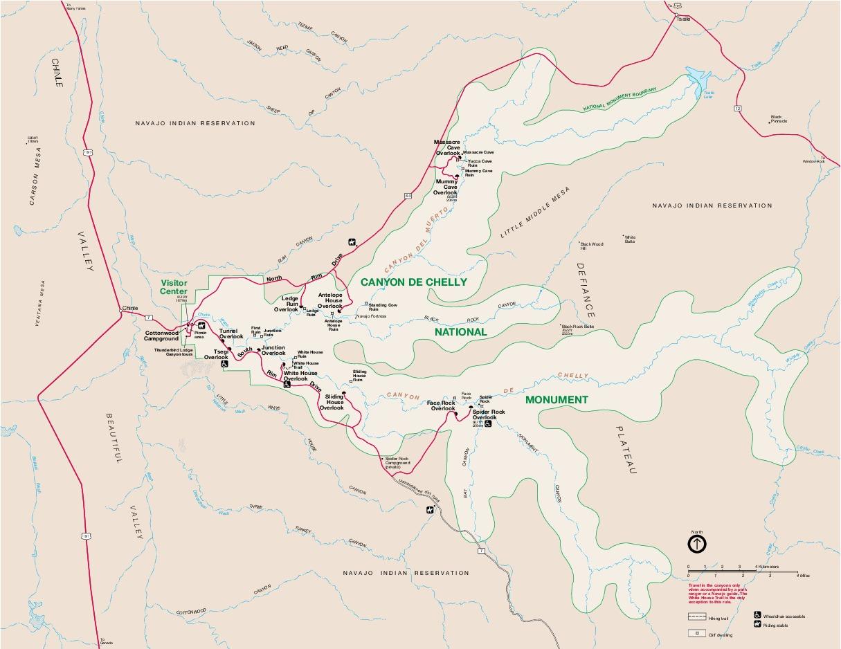 Mapa del Parque del Monumento Nacional Canyon de Chelly
