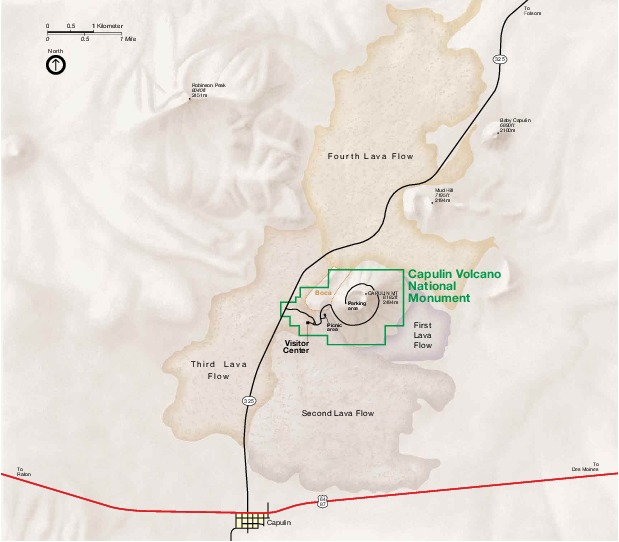 Capulin Volcano National Monument Park Map, New Mexico, United States