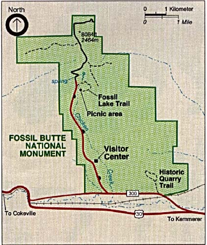 Mapa del Parque del Monumento Nacional Fossil Butte, Wyoming, Estados Unidos
