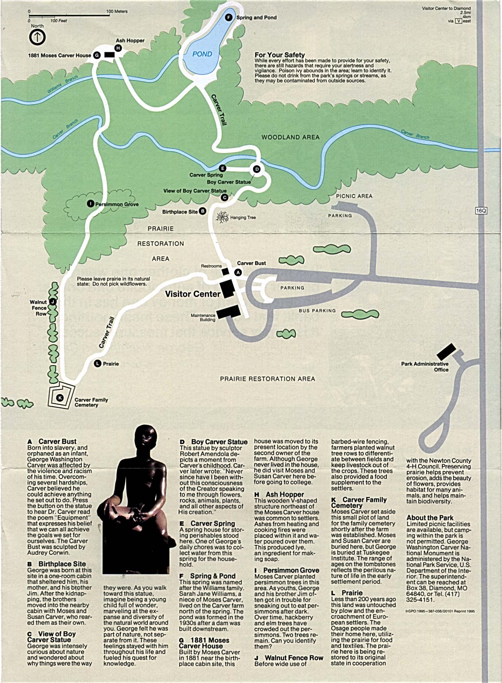 Mapa del Parque del Monumento Nacional George Washington Carver, Missouri, Estados Unidos