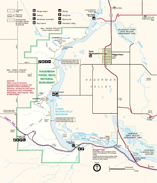 Mapa del Parque del Monumento Nacional Hagerman Fossil Beds, Idaho, Estados Unidos