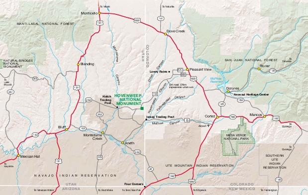 Mapa del Parque del Monumento Nacional Hovenweep, Colorado, Estados Unidos