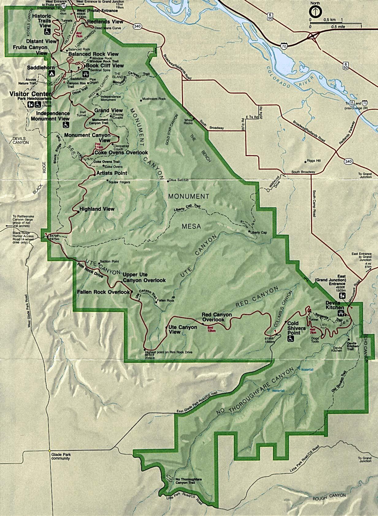 Mapa del Parque del Monumento Nacional de Colorado, Colorado, Estados Unidos
