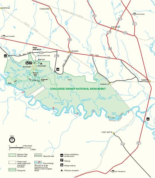 Mapa del Parque del Monumento Nacional de Congaree, Carolina del Sur, Estados Unidos