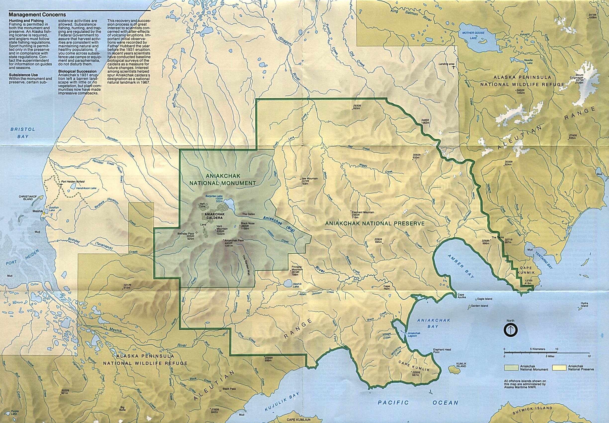 Park Map of Aniakchak National Monument and Preserve, Alaska, United States