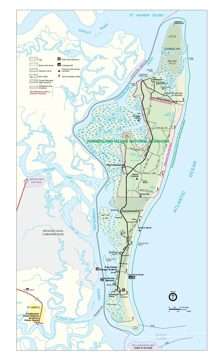 Mapa del Parque del Área Marina Costera Protegida de Cumberland Island, Georgia, Estados Unidos
