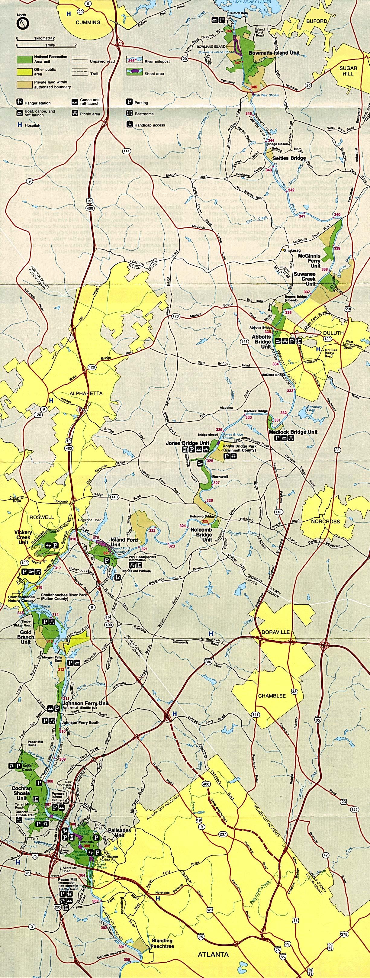 Mapa del Parque del Área Nacional de Recreación Chattahoochee River, Georgia, Estados Unidos
