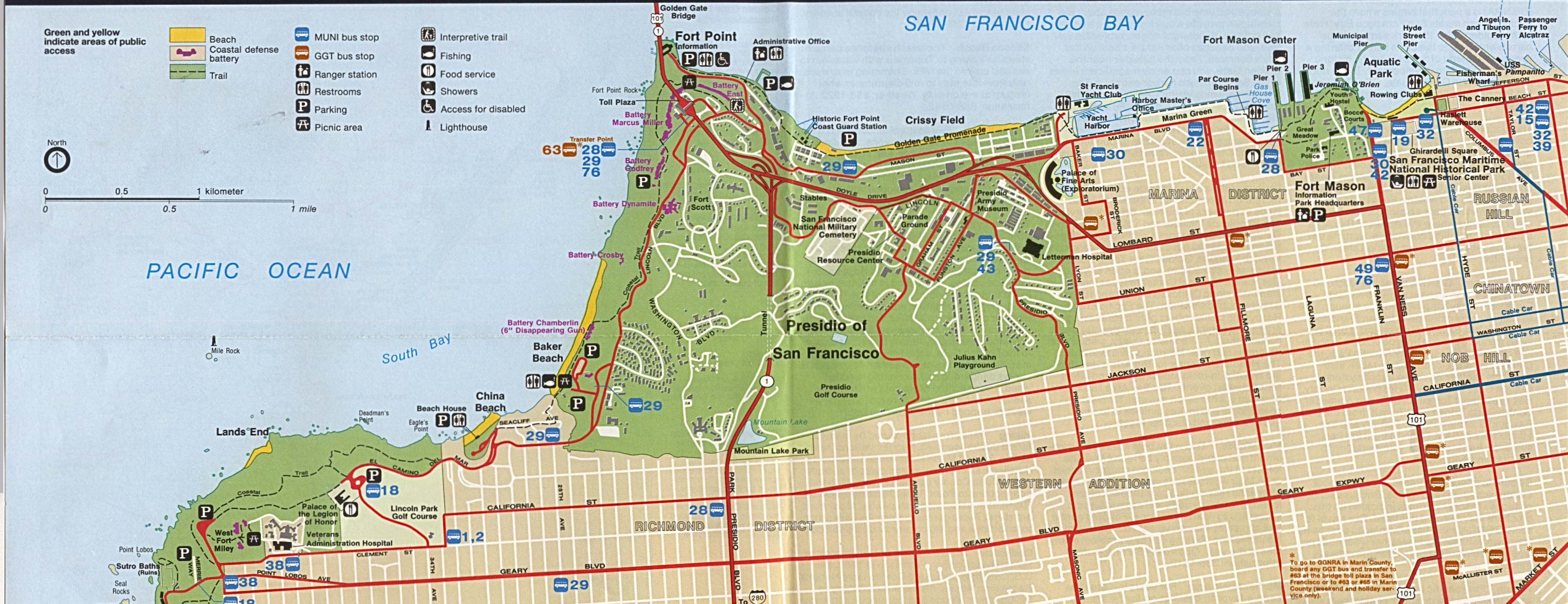 Park Map of Golden Gate National Recreation Area (North), California, United States