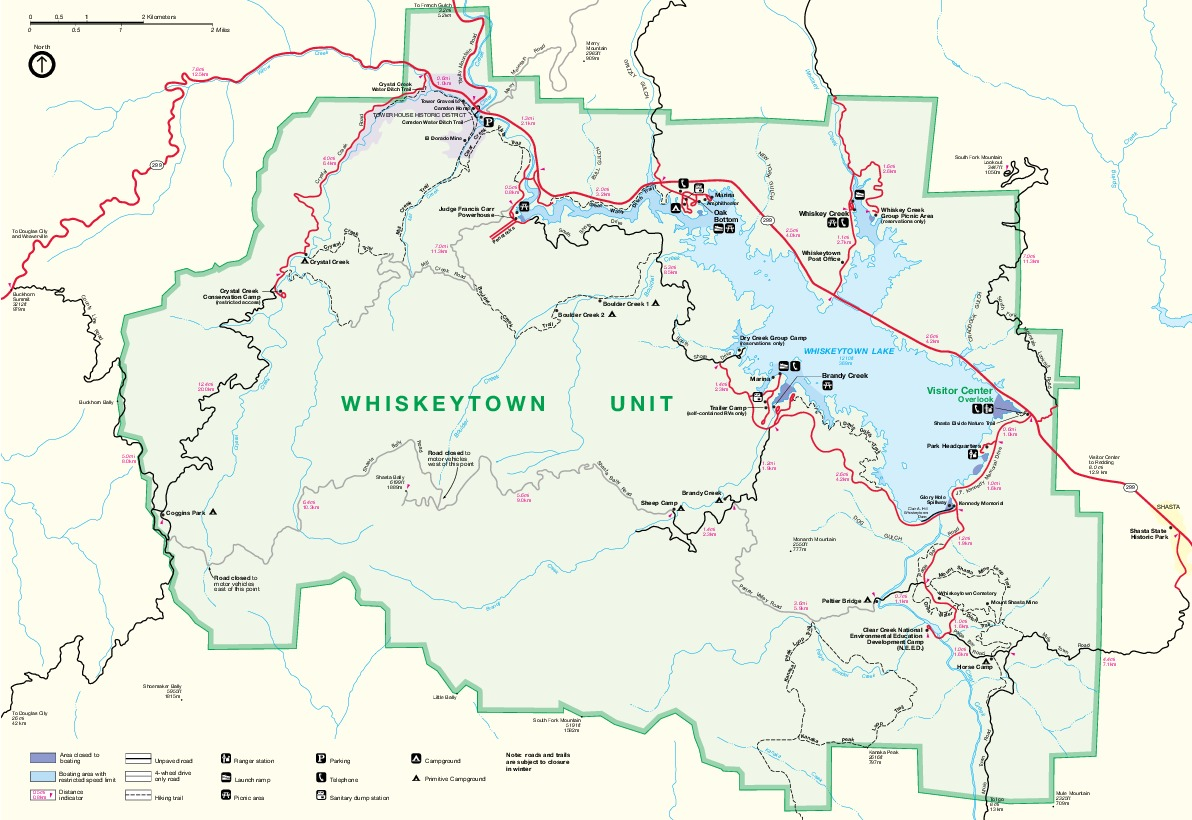 Park Map of Whiskeytown National Recreation Area, California, United States